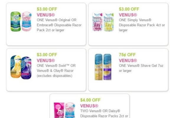 5 Venus Razors Coupons-Save $13.75! Domestic Divas Coupons