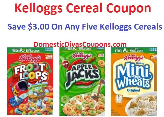 Kelloggs Cereal Coupon Save $3.00 On Any Five Kelloggs Cereals DomesticDivasCoupons