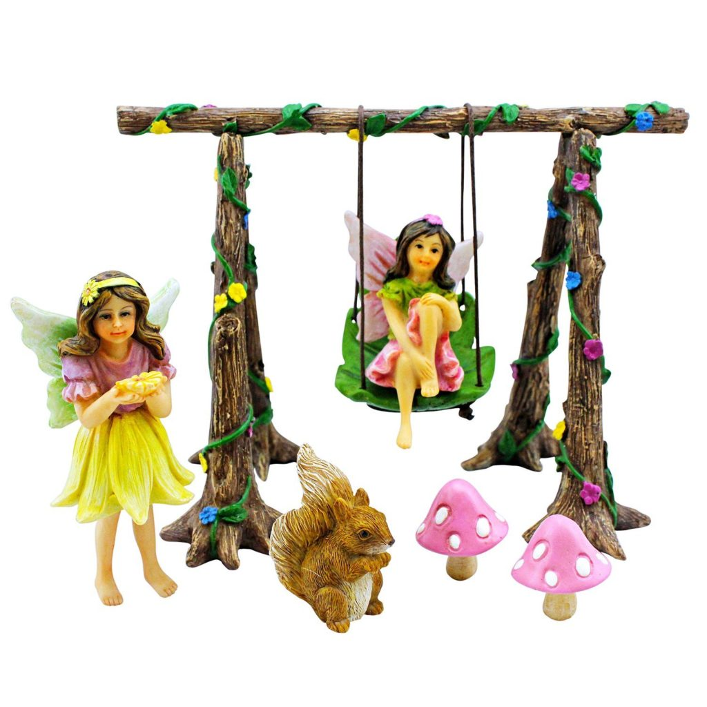 Miniature Fairy Garden Swing Set Amp Accessories Kit With