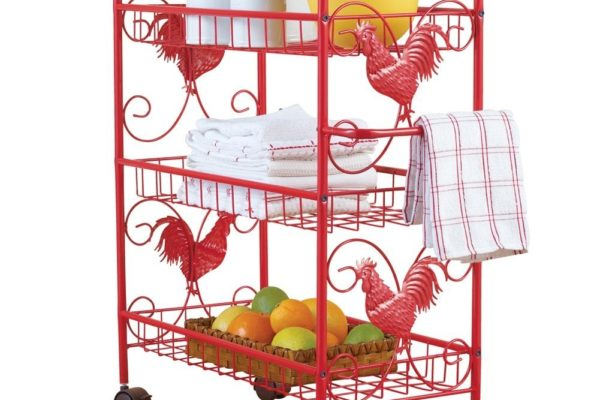 Red Metal Rooster 3 Shelf Rolling Cart DomesticDivasCoupons