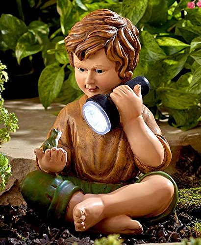 Solar Boy with Frog Statue DomesticDivasCoupons