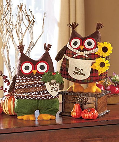 Happy Fall Plush Harvest Owls Set Of 2 - Boy & Girl Domestic Divas Coupons