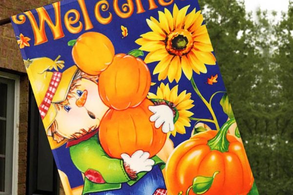 Harvest Fall Scarecrow Double Sided House Flag2