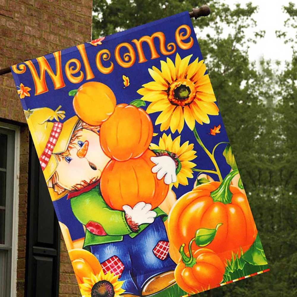 Harvest Fall Scarecrow Double Sided House Flag2
