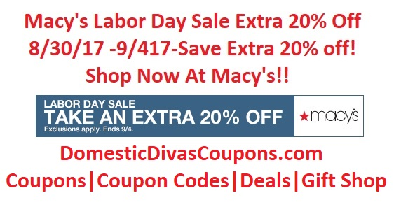 Macy's Labor Day Sale Extra 20% Off Domestic Divas Coupons