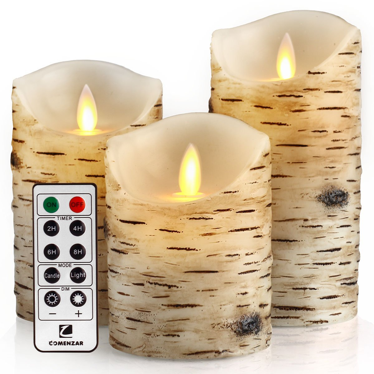 Flameless Flickering Birch Candles With Remote-Timer-Set Of 3 Domestic Divas Coupons