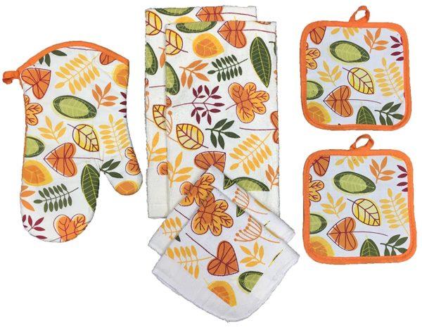 Kitchen Towel Set Leaves2