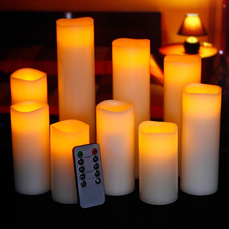 pillar flickering flameless led candles remote timer set of 9 domestic divas coupons. Black Bedroom Furniture Sets. Home Design Ideas