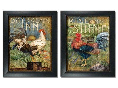 2 FramedRetro Rooster Rustic Prints