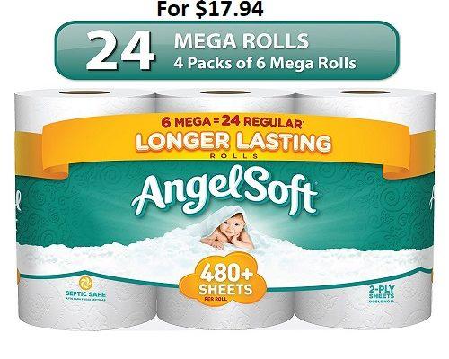 GetAngel Soft Toilet Paper 24 Mega Rolls For $17.94