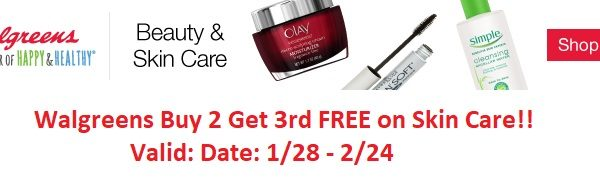Walgreens Buy 2 Get 3rd FREE on Skin Care!!
