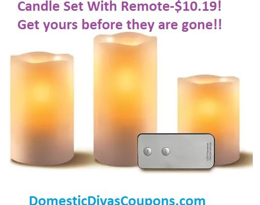 Apothecary & Company 3-pc. LED Candle Set With Remote-$10.19! DomesticDivasCoupons