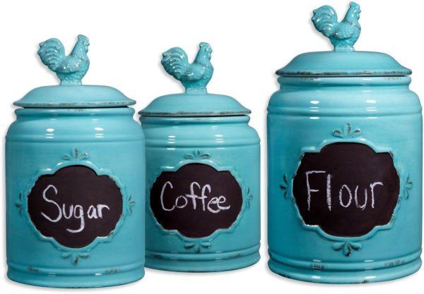 Aqua Ceramic Round Chalkboard Rooster Canister Jars-Set Of 3