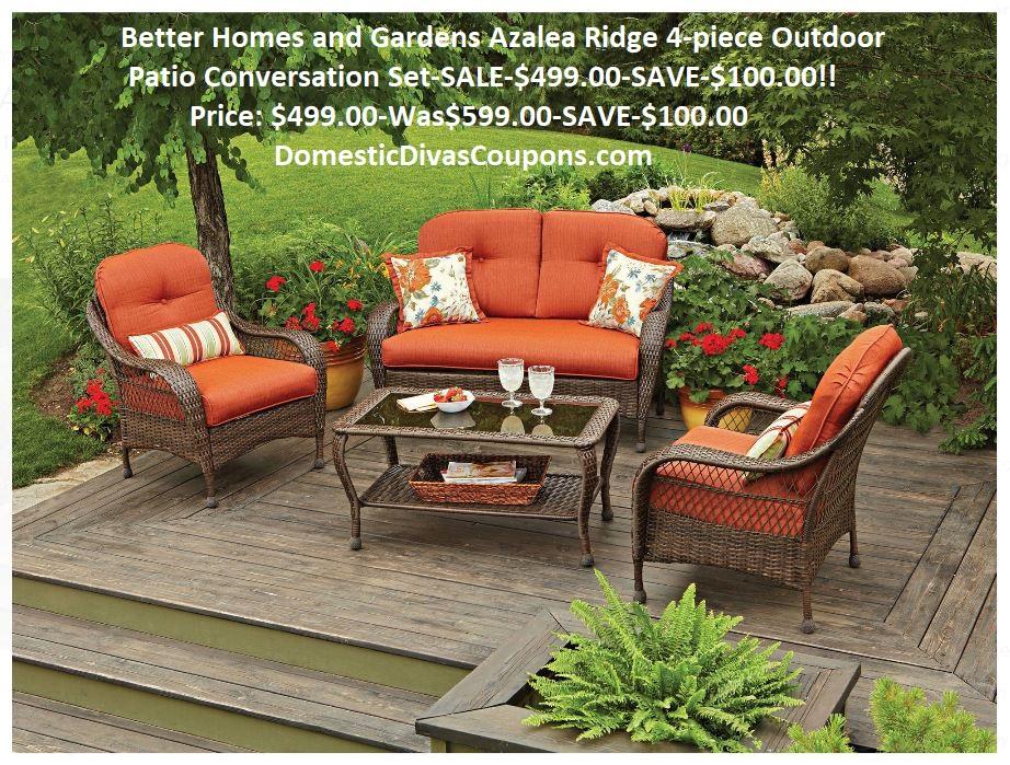 Better Homes And Gardens Azalea Ridge 4 Piece Outdoor Patio Conversation Set Sale