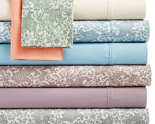CLOSEOUT! Queen Size Caprice Solid And Floral Print 4-Pc -Sheet Set-$23.99