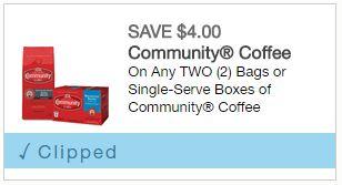 COMMUNITY COFFEE COUPON-$4.00