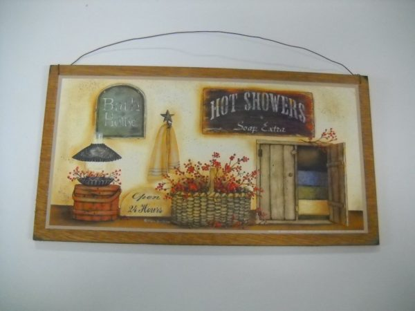 Country Bathroom Wooden Wall Art Sign