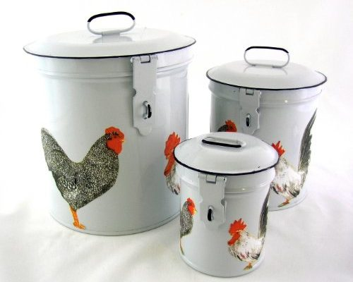 French Country White Vintage French Roosters Canister Set