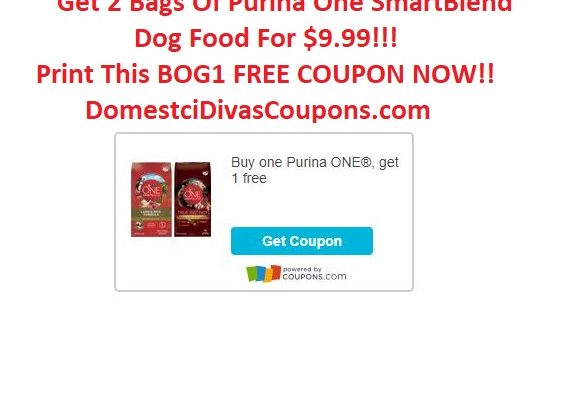 Get 2 Bags Of Purina One SmartBlend Dog Food For $9.99! DomesticDivasCoupons