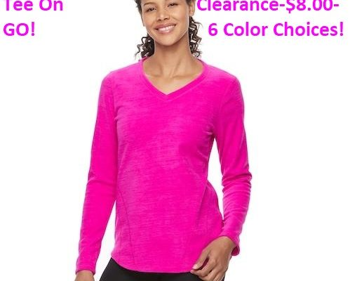 Get ThisWomens Microfleece V-neck Tee On Clearance-$8.00-GO! DomesticDivasCoupons