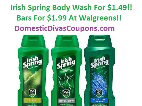 Irish Spring Body Wash For $1.49-Bars For $1.99 At Walgreens! DomesticDivasCoupons