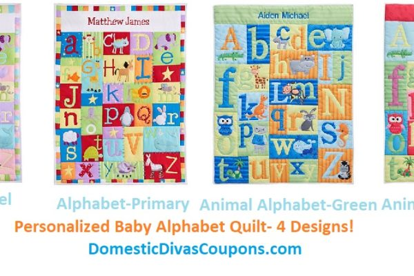 PersonalizedBaby Alphabet Quilt- 4 Designs DomesticDivasCoupons