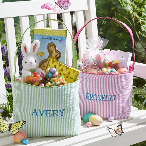 PersonalizedEmbroidered Seersucker Easter Tote