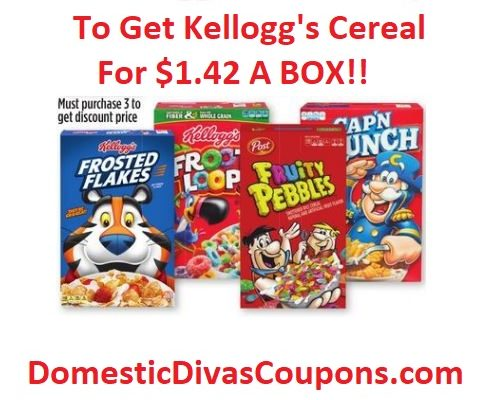 Print Kellogg's Cereal Coupons To Get Kellogg's Cereal For $1.42 A BOX!!