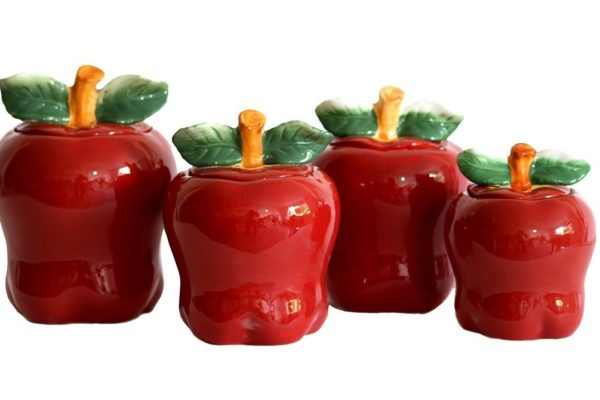 Tuscany Red Apple Ceramic 4 Pc-Canister Set Has Matching Pieces
