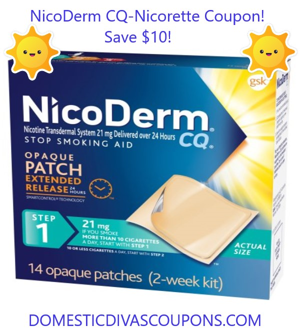 picture relating to Nicorette Printable Coupon titled Nicorette Coupon-NicoDerm CQ! Conserve $10! House Divas Discount codes