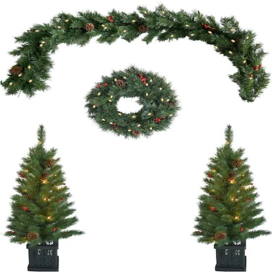 Indoor-Outdoor Pre-Lit Artificial Christmas Trees, Wreath ...